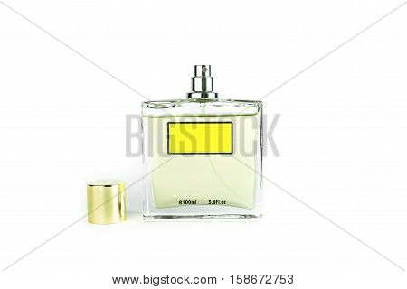 Perfume in beautiful yelow color bottle isolated on white background