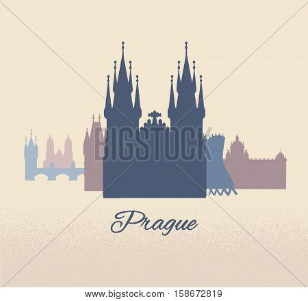 Welcome to Prague travel poster, banner, sticker with Czech capital landmarks.Vector illustration
