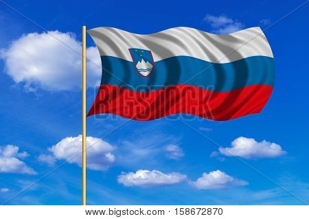 Slovenian national official flag. Patriotic symbol banner element background. Correct colors. Flag of Slovenia on flagpole waving in the wind blue sky background. Fabric texture. 3D rendered illustration
