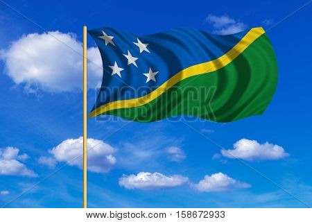 Solomon Island national official flag. Patriotic symbol banner element background. Correct colors. Flag of Solomon Islands on flagpole waving in the wind blue sky background. Fabric texture. 3D rendered illustration