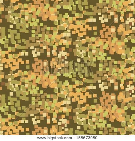 Pixelated sand camouflage seamless vector pattern. Khaki brown color abstract pixels.