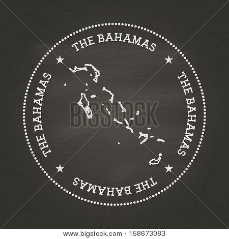 White Chalk Texture Vintage Seal With Commonwealth Of The Bahamas Map On A School Blackboard. Grunge