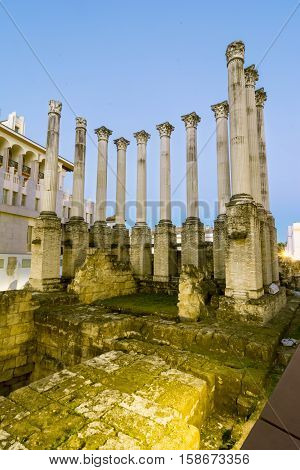 Roman columns of the temple of Cordoba from the street, Spain