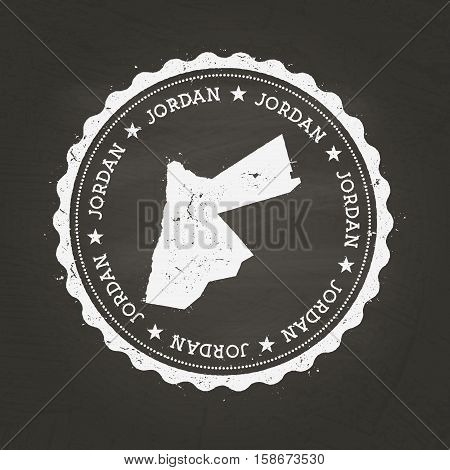 White Chalk Texture Rubber Stamp With Hashemite Kingdom Of Jordan Map On A School Blackboard. Grunge