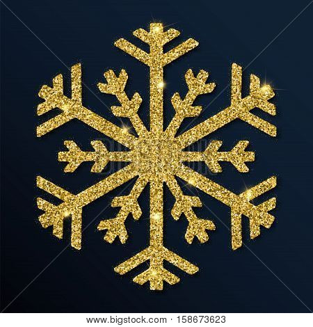 Golden Glitter Divine Snowflake. Luxurious Christmas Design Element, Vector Illustration.
