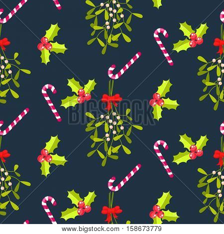 Festive kissing bough seamless vector pattern. Traditional plant tied with red bow. Holly berry and stripes candy cane blue background.
