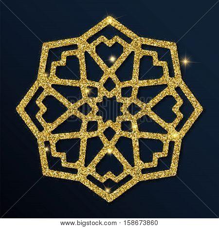 Golden Glitter Beauteous Snowflake. Luxurious Christmas Design Element, Vector Illustration.