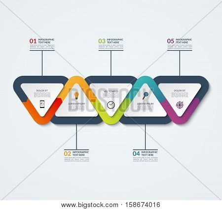 Infographic template of triangular elements. Business concept with 5 options, steps, parts, segments. Vector banner for web, timeline infographics, workflow layout, diagram, chart, annual report