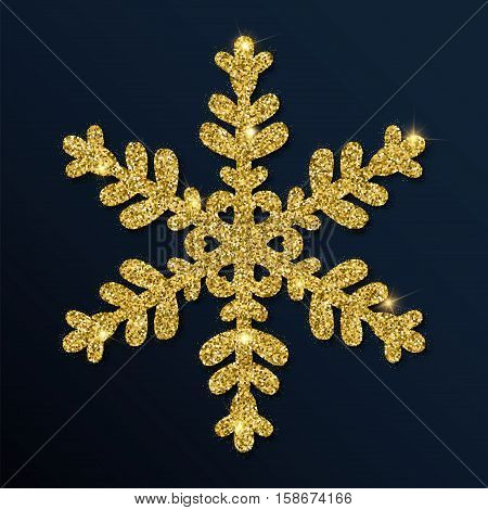 Golden Glitter Fascinating Snowflake. Luxurious Christmas Design Element, Vector Illustration.