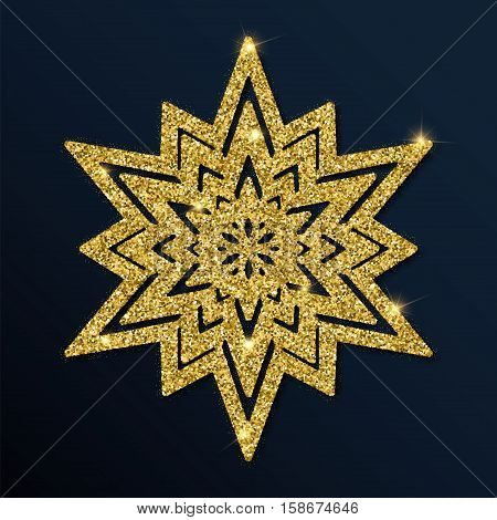 Golden Glitter Admirable Snowflake. Luxurious Christmas Design Element, Vector Illustration.