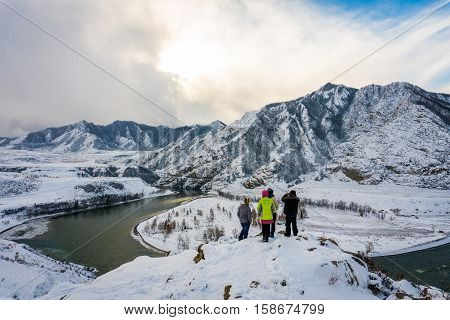 Mountain river Katun, Altay, Russia. A winter scenic. Siberia