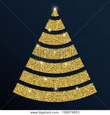 Golden Glitter Marvelous Christmas Tree. Luxurious Christmas Design Element, Vector Illustration.