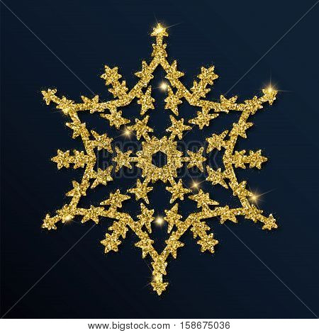 Golden Glitter Interesting Snowflake. Luxurious Christmas Design Element, Vector Illustration.