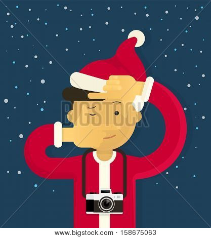 Christmas creative photographer doing viewfinder gesture. Flat illustration of young boy wearing red Santa Claus clothes and doing a selfie photo with a camera on blue background with snowflakes