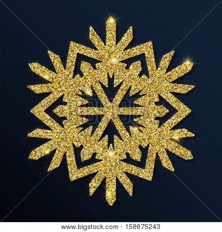 Golden Glitter Charming Snowflake. Luxurious Christmas Design Element, Vector Illustration.