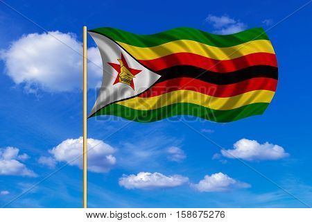 Zimbabwean national official flag. African patriotic symbol banner element background. Correct colors. Flag of Zimbabwe on flagpole waving in the wind blue sky background. Fabric texture. 3D rendered illustration