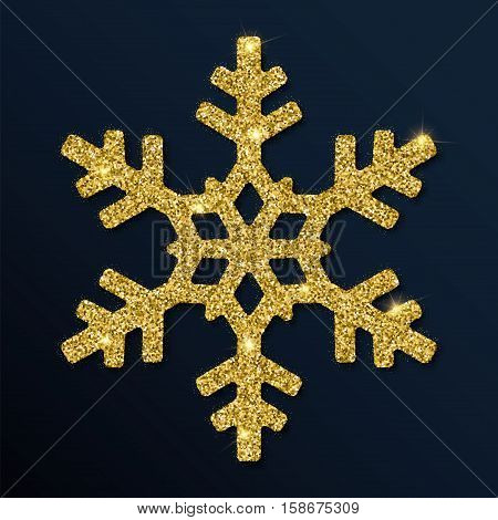 Golden Glitter Glamorous Snowflake. Luxurious Christmas Design Element, Vector Illustration.
