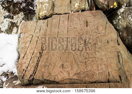 petroglyphs, altay, Kalbak-Tash, Hi from 7000 years ago