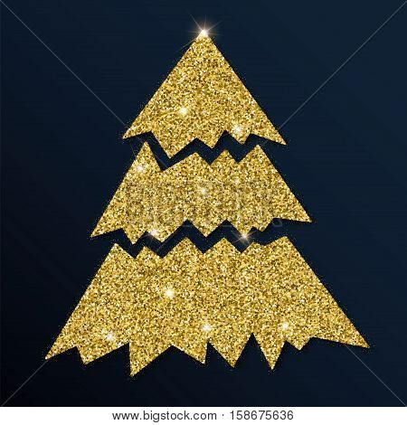 Golden Glitter Graceful Christmas Tree. Luxurious Christmas Design Element, Vector Illustration.