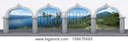 Arcade With Archway And Garda Lake Landscape