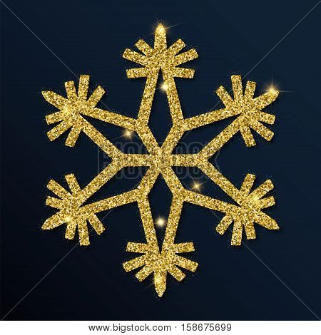 Golden Glitter Awesome Snowflake. Luxurious Christmas Design Element, Vector Illustration.