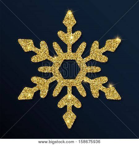 Golden Glitter Fetching Snowflake. Luxurious Christmas Design Element, Vector Illustration.