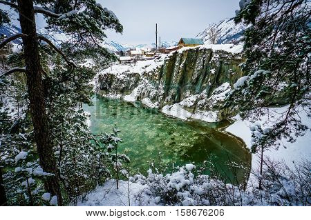 Mountain river Katun, Altay, Russia. A winter scenic on Chemal