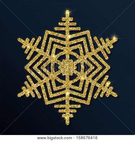 Golden Glitter Mesmeric Snowflake. Luxurious Christmas Design Element, Vector Illustration.