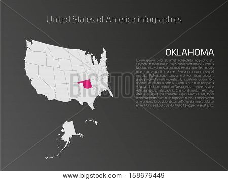 United States of America, aka USA or US, map infographics template. 3D perspective dark theme with pink highlighted Oklahoma, state name and text area on the left side.