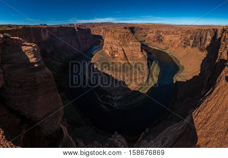 Horseshoe Bend meander of Colorado River in Glen Canyon Arizona US