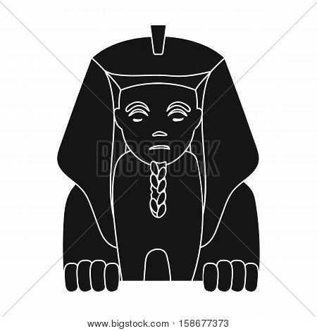 Sphinx icon in black style isolated on white background. Ancient Egypt symbol vector illustration.