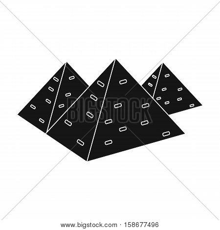 Egyptian pyramids icon in black style isolated on white background. Ancient Egypt symbol vector illustration.