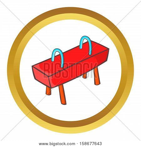 Pommel horse vector icon in golden circle, cartoon style isolated on white background