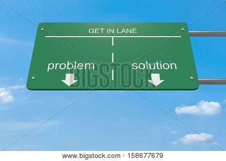 Get In Lane Business Concept: Problem Or Solution 3d illustration