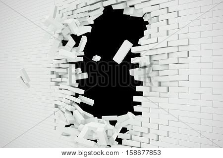 Explosion, destruction of a white brick wall, abstract background for Template for a content. 3d illustration