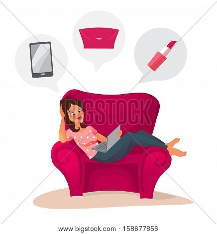 young woman lying on the couch with a laptop in front of her and doing online shopping at home. cuzy sofa. cartoon character.