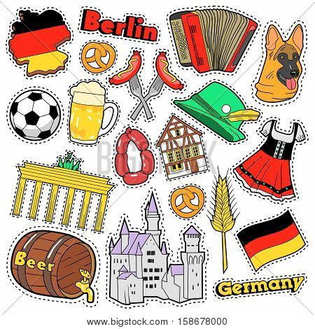 Germany Travel Scrapbook Stickers, Patches, Badges for Prints with Sausage, Flag, Architecture and German Elements. Comic Style Vector Doodle