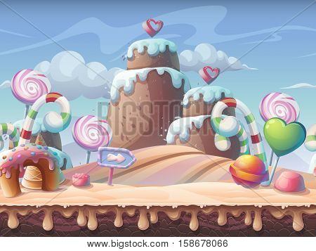 Caramel background vector illustration. Sweet landscape for print create videos or web graphic design game user interface card poster.