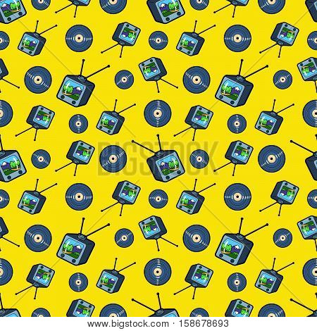 TV Set and Vinyl Seamless Pattern. Vector Background in Retro Style