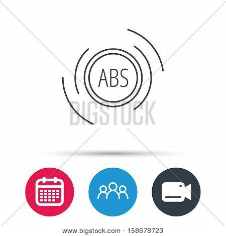 ABS icon. Brakes antilock system sign. Group of people, video cam and calendar icons. Vector