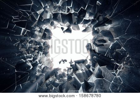 3d rendering racked earth abstract background with volume light rays, negative photo effects