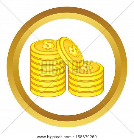 Stack of gold coins vector icon in golden circle, cartoon style isolated on white background