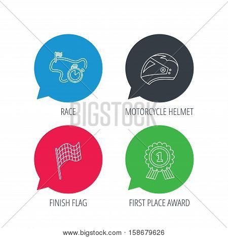 Colored speech bubbles. Race flag, motorcycle helmet and award medal icons. Start or finish flag linear sign. Flat web buttons with linear icons. Vector