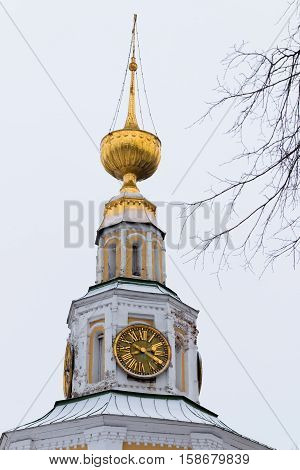 Bell tower of of the Transfiguration Cathedral. Uglich on cloudy day Uglich Golden Ring of Russia