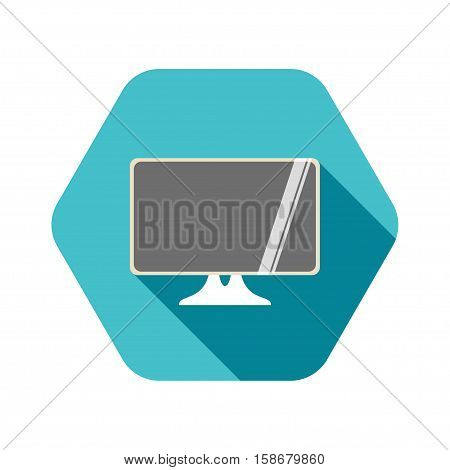 Vector hexagon icon of monitor on the turquoise background with shadow.