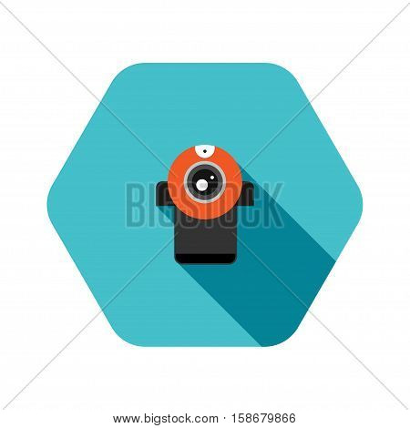 Vector hexagon icon of red webcamera on the turquoise background with shadow