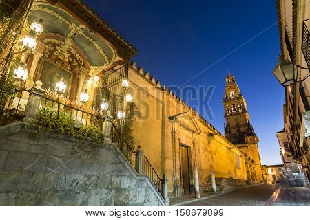 Bell Tower, Torre de Alminar, of the Mezquita Cathedral-The Great Mosque, in Cordoba, Andalusia, Spain