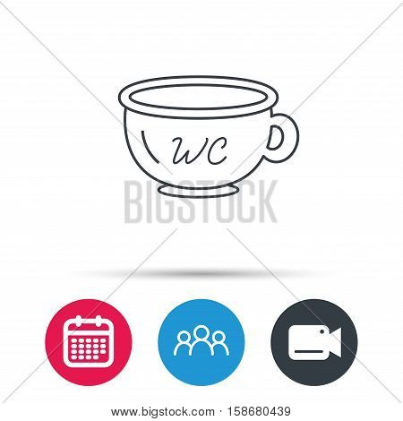 Baby wc pot icon. Child toilet sign. Washroom or lavatory symbol. Group of people, video cam and calendar icons. Vector