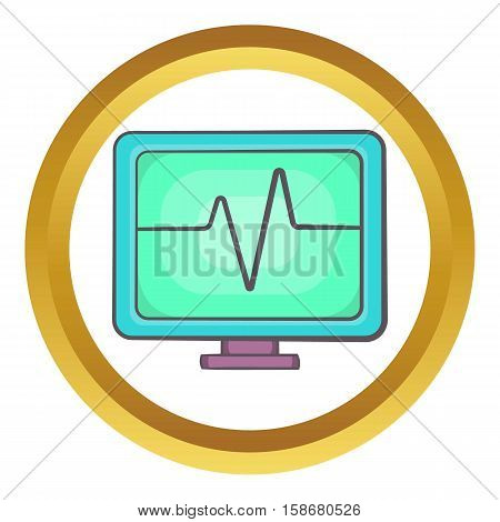 Electrocardiogram monitor vector icon in golden circle, cartoon style isolated on white background