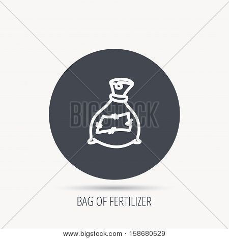 Bag with fertilizer icon. Fertilization sack sign. Farming or agriculture symbol. Round web button with flat icon. Vector